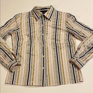 Evan Picone SZ 8 Striped Button Shirt D11